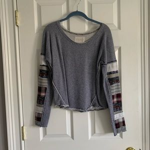 Free People Patched arms sweatshirt